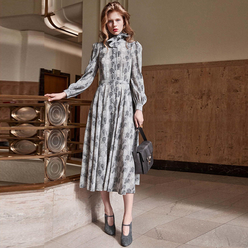 2018 Winter Vintage Gray Floral Print Long Dress Women Runway Designer Lace up Ladies Christmas Party Dresses Clothing
