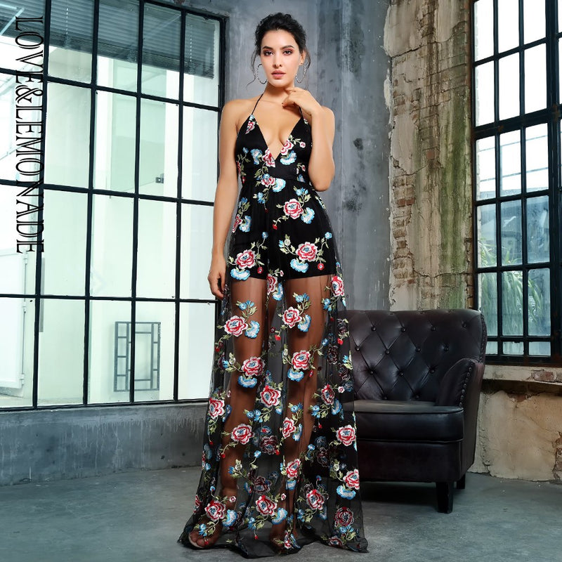 Love&Lemonade   Black V-Neck Open Back Flower Embroidery Mesh Long Dress LM1368