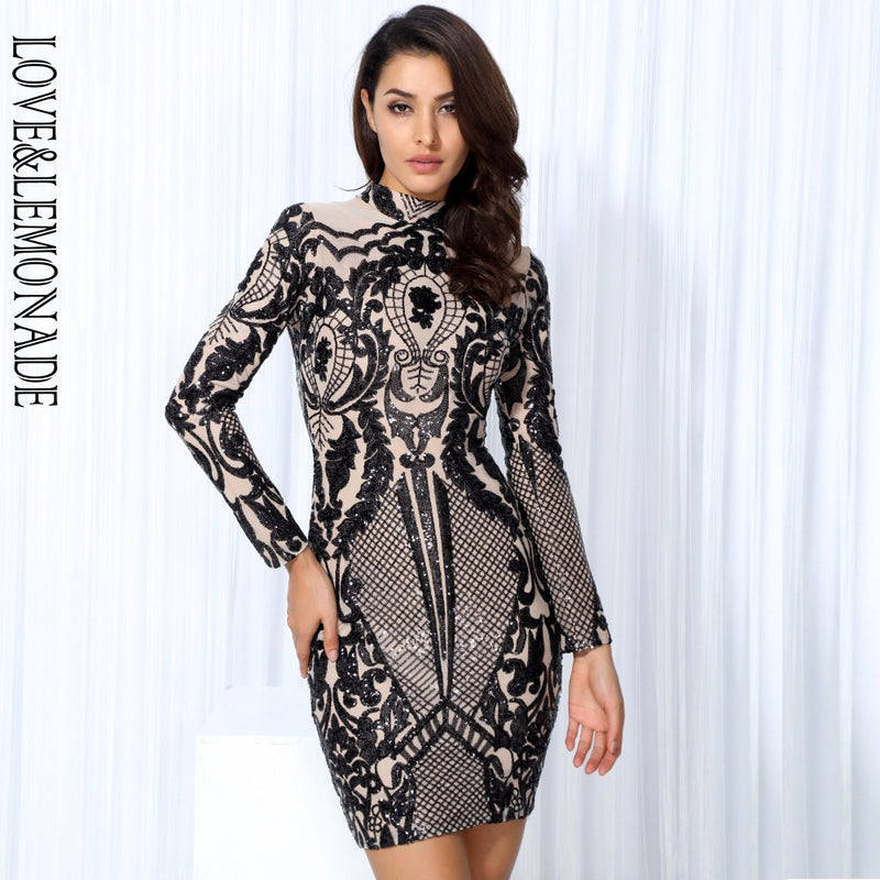 Love&Lemonade  Black Geometric Graphic Sequins Nude  Lining Long Sleeves Dress Black/Silver TB 10152