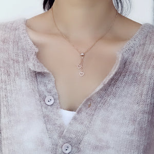 YUN RUO 2018 New Rose Gold Color Fashion Two Heart Tassel Crystal Pendant Necklace Titanium Steel Jewelry Woman Gift Never Fade