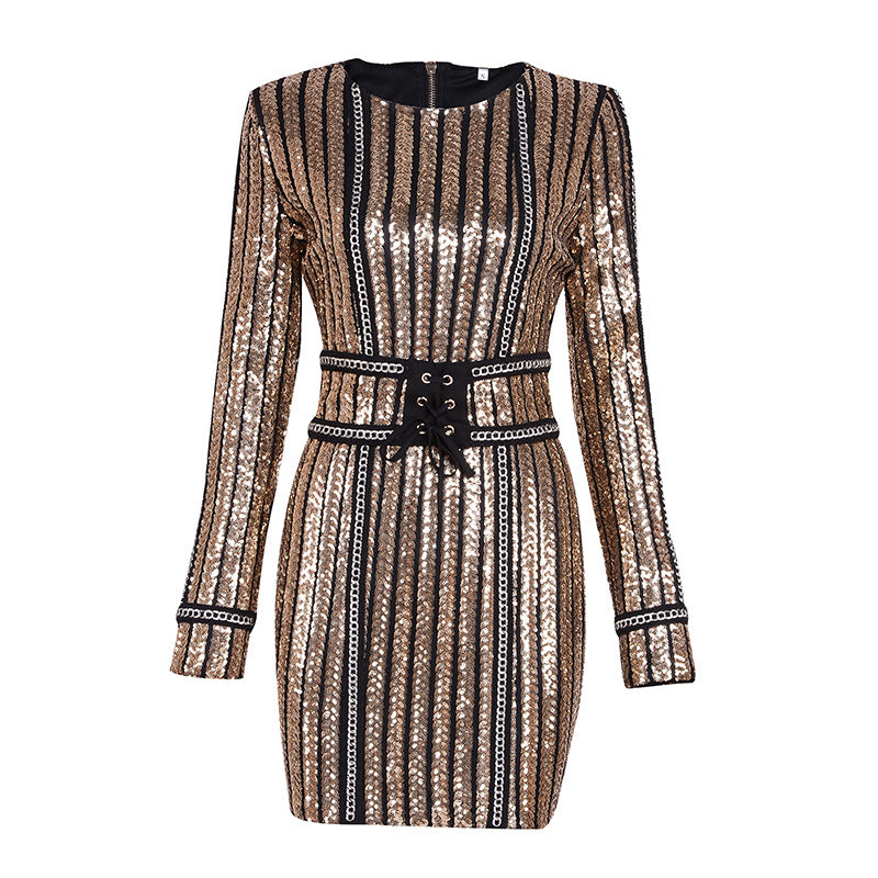 High Quality 2017 Winter Evening Flashy Chrismas Party Dresses Women European Style Sequined Ladies Sexy Mini Dress Vestidos