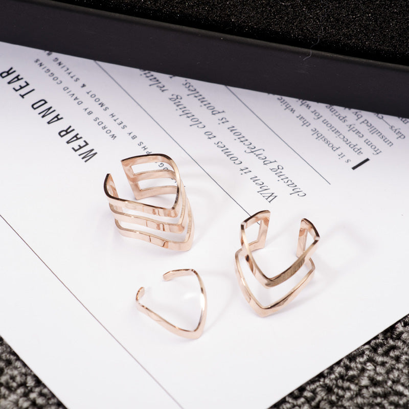 YUN RUO Rose Gold Silver Colors Classic 3 Rings Set for Woman Girl Wedding Jewelry 316 L Stainless Steel Prevent Fade in Bath