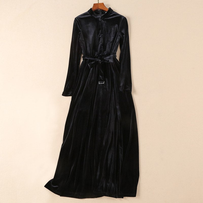 solid color black / navy blue velvet maxi dress fall fashion clothes women stand collar long sleeve tie belt a line long dresses