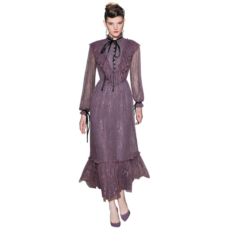 Women's Purple Lace Dress Runway Party Vintage Ruffle Vestido De Festa Elegant Summer Dresses Female 2018 Robe Free Shipping