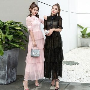 TWOTWINSTYLE Summer Layers Mesh Dresses Women Short Sleeve Ruffle Lace Dot Maxi Party Dress Female Fashion Clothes 2018 Korean