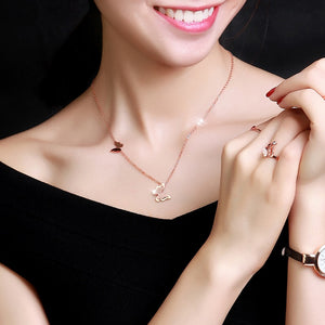 YUN RUO Fashion Brand Woman Jewelry Yellow Rose Gold Silver Color Butterfly Pendant Necklace 316 L Stainless Steel Never Fade