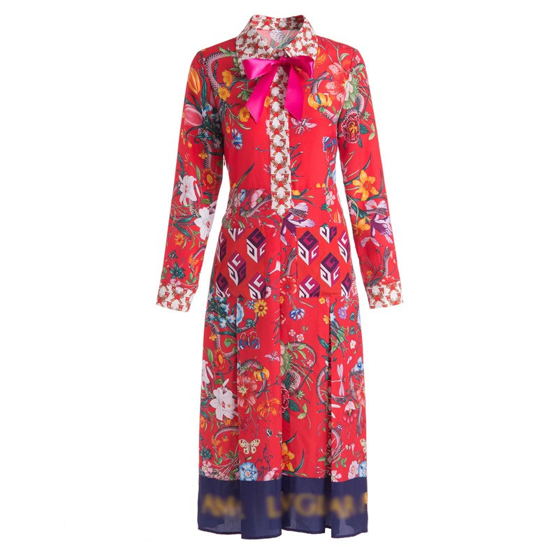 2017 Runway Designer New Autumn Party Midi Dress Women High Quality Floral Print Embroidery Female Red Dresses Vestidos Tunic