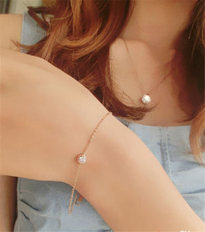 Fashion Brand Rose Gold Color Zircon Crystal Bracelet Charms