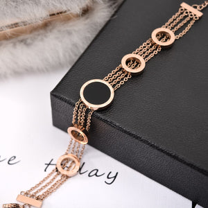 YUN RUO Fashion Black Round Letter Bracelet Woman Chain Gift Rose Gold Color Stainless Steel Jewelry Never Fade Drop shopping