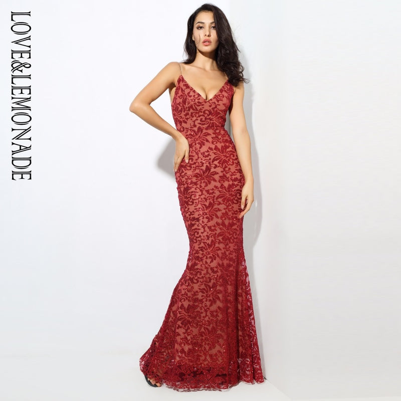 Love&Lemonade  .  Deep V Neck Open Back Flower Ribs Long Dresses Red/Silver/Gold/Navy  LM0301
