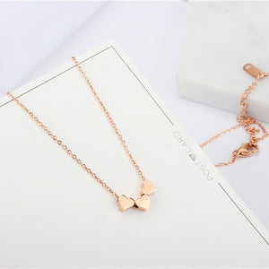 YUN RUO Fashion Brand Woman Jewelry Rose Gold Color 3 Heart Pendant Necklace 316 L Stainless Steel Collares Jewelry High Polish