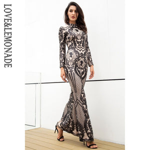 Love&Lemonade  Black Collar Self-Cultivation Geometry Sequins Party Long Dress  LM0921