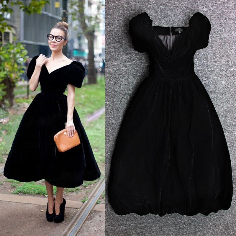 S-3XL High Quality Black And Blue Velvet Women Dress Of Bitter Fleabane Bitter Fleabane That  Of 2018 Free Shipping