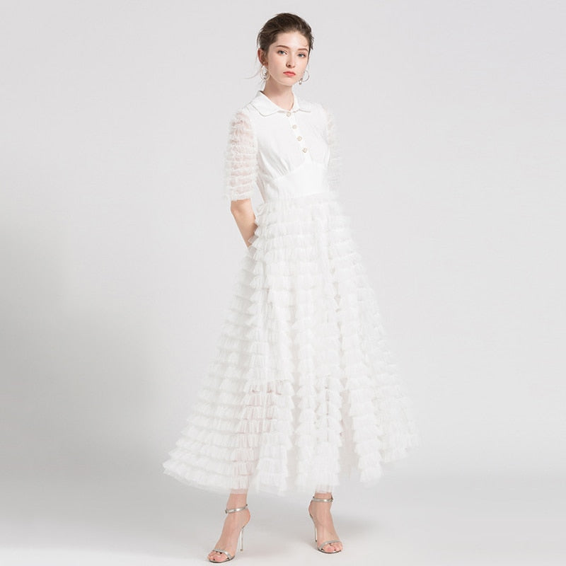 TWOTWINSTYLE Mesh Party Dress Ruffles Patchwork Short Sleeve Tunic High Waist Maxi Dresses 2018 Summer Elegant Fashion Clothing