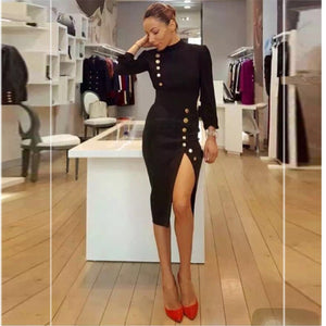 HIGH QUALITY Newest 2018 Designer Dress Women's Long Sleeve Lion Buttons Patchwork Slit Knee-length Dress