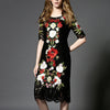 2018 Summer Black Lace Long Dress Women Runway Designer Clothes Floral Embroidery Autumn Party Midi Dresses Tunic plus size
