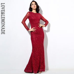 Love&Lemonade  Hot Bead Pads Shoulder Fish Tail Long Dresses Red/Silver/Gold  LM0235