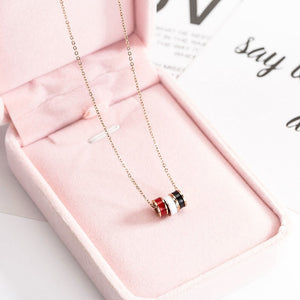 YUN RUO 2018 New Rose Gold Color Fashion Three Color Circle Round Pendant Necklace Titanium Steel Jewelry Woman Gift Never Fade