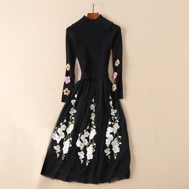 woolen flower appliques long sleeve turtleneck knitted patchwork embroidery mesh dress winter 2018 mid calf casual dress sales