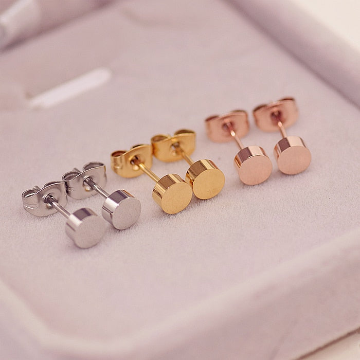 YUNRUO Brand Yellow Rose Silver Color Classic Simple Gold Bean Stud Earring for Woman Girl 316 L Stainless Steel Fashion Jewelry