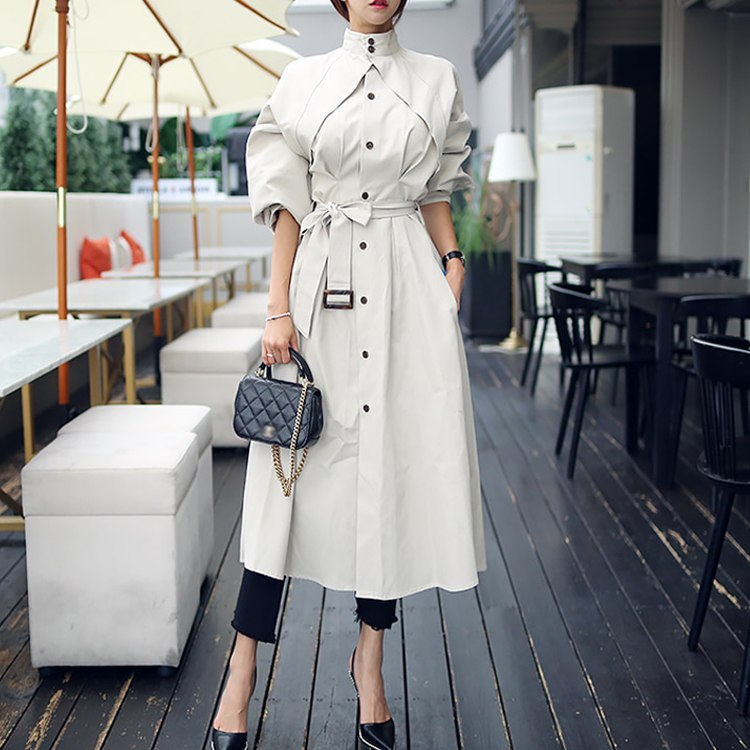 2018 high quality designer brand runway trench women dress fall spring autumn single breasted long dress office vestidos T280