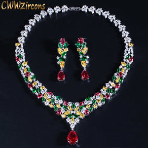 HIgh Quality Water Drop Cubic Zirconia Wedding Bridal Necklace Jewelry Sets Luxury