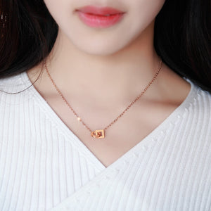 YUN RUO Double Circle Pendant Necklace Rose Gold Color Fashion 316L Stainless Steel Woman Jewelry Gift High Polish Dropshipping