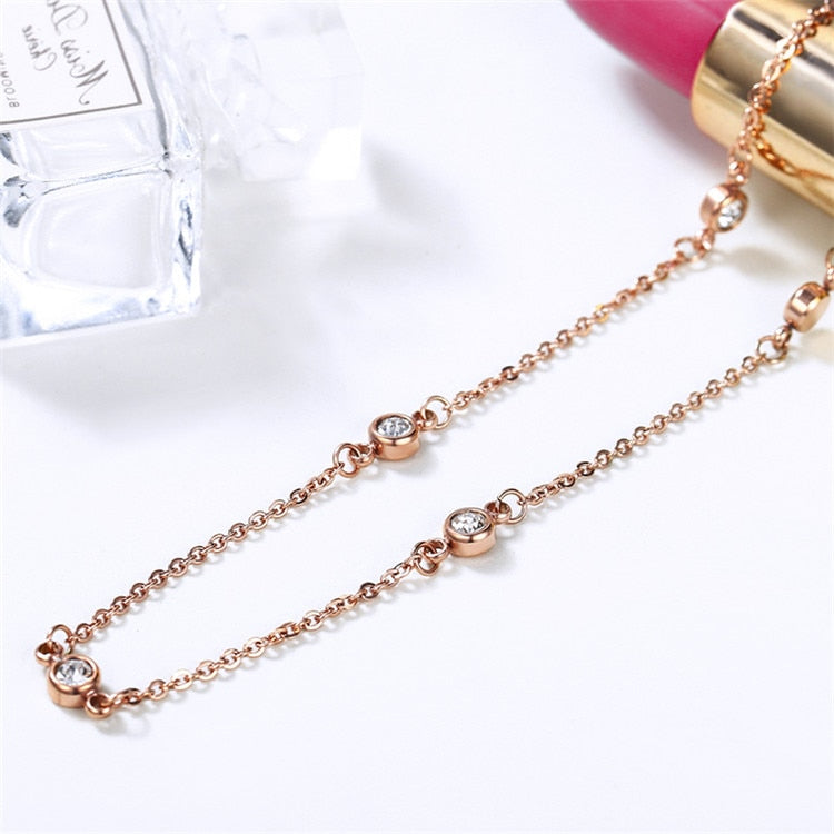 YUN RUO Fashion Brand Woman Jewelry Rose Gold Color Seven Crystals Choker Necklace 316 L Stainless Steel Jewelry Girl Not Fade