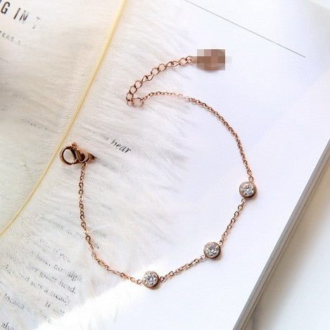 YUN RUO Fashion Brand Rose Gold Color Cubic Zircon Bracelet Charms 316L Stainless Steel Jewelry Woman Top Quality Prevent Fade