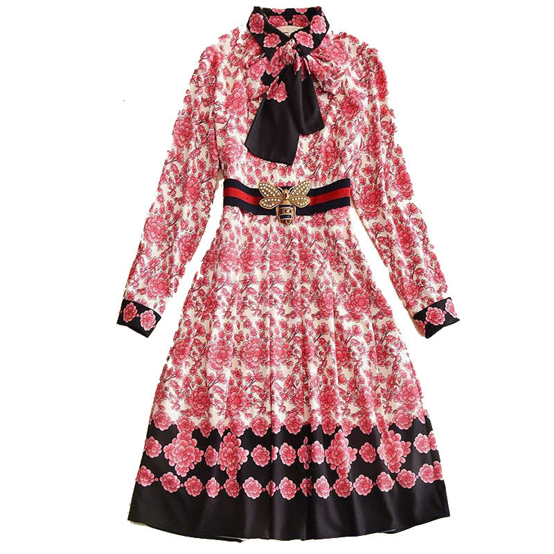 Spring Autumn Dress 2018 High Quality Women Runway Dresses Turn-Down Collar Long Sleeve Printed Dress NPD0129