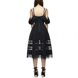 2018 Sexy Off the Shoulder Black Lace Dress Slip Women Hollow Out Backless summer Party Long Dresses MIDI Vestidos Tunic