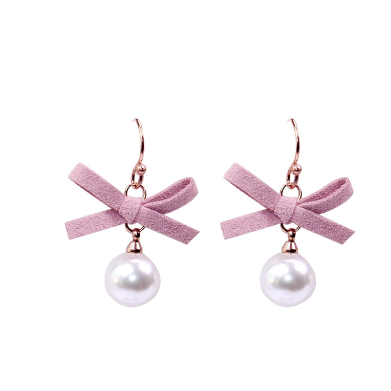 YUN RUO New Arrival Fashion Bowknot Pearl Stud Earring Rose Gold Color Woman Girl Birthday Gift Titanium Steel Jewelry Not Fade