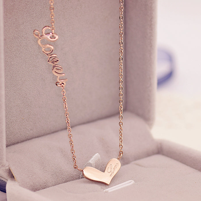 YUN RUO Fashion Brand Woman Jewelry Rose Gold Color Elegant LOVEU Heart Pendant Necklace 316 L Stainless Steel Bijoux Femme Gift