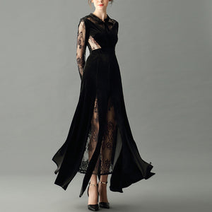 sexy black dress sheer lace long sleeve transparent rib and back bow collar floor length evening maxi dress black party dress