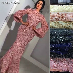 Long Sleeves Arabic High Neck Lace Evening Dress 2018 Aibye Formal Wedding Party Gowns