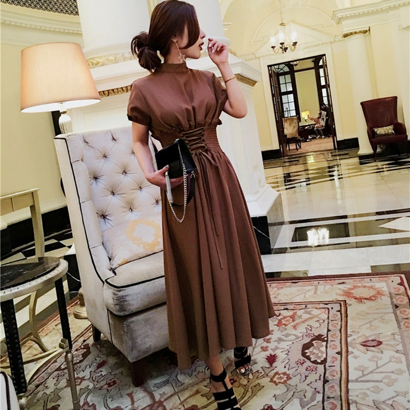 CHICEVER Autumn Lantern Sleeve Women Dress Tunic Slim Bandage Long Dresses Female Clothes Fashion Vestidos Casual 2018