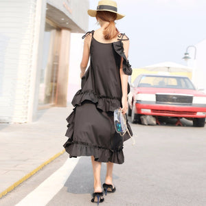 TWOTWINSTYLE Irregular Ruffles Dress For Women Off Shoulder High Waist Oversize Long Dresses Summer Fashion Sweet 2018 Clothing