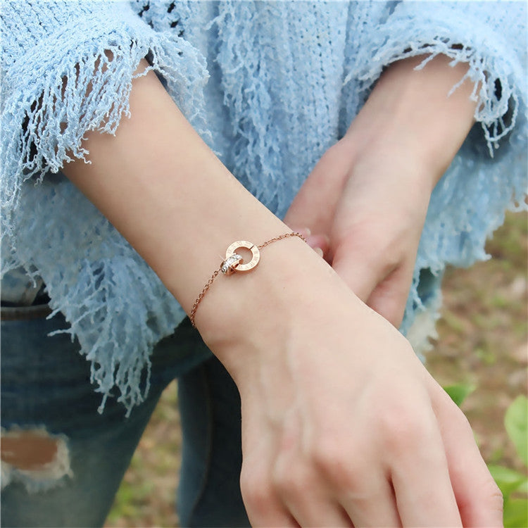 YUN RUO Fashion Double Circle Chain Roman Numerals Letter Bracelet Woman Gift Rose Gold Color Stainless Steel Jewelry Not Fade