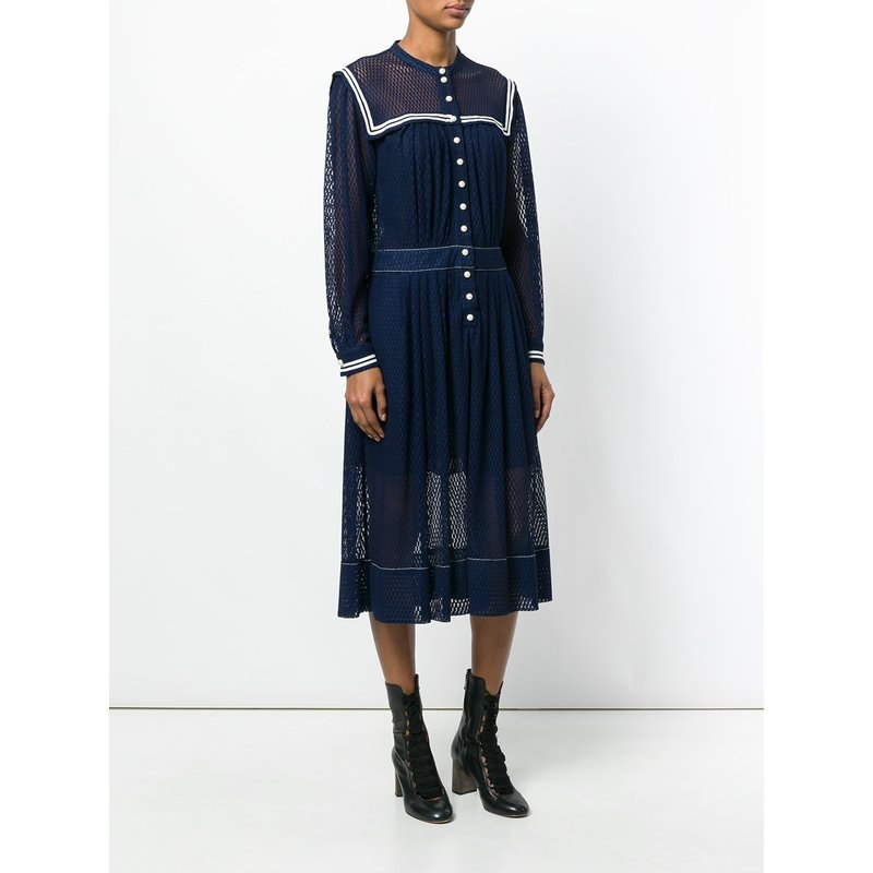 cute japanese dress 2018 Autumn navy style Cutout Long Sleeve Lace dress sexy see through Women casual dress retro clothes