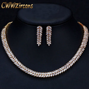 African Cubic Zirconia Pave Saudi Arabia Gold Color Wedding Bridal Necklace Earrings Jewelry Sets