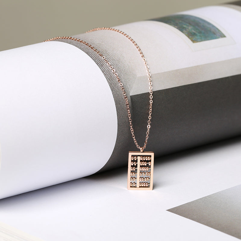 YUN RUO 2018 New Arrival Rose Gold Color Personality Fashion Abacus Pendant Necklace Titanium Steel Jewelry Woman Gift Not Fade