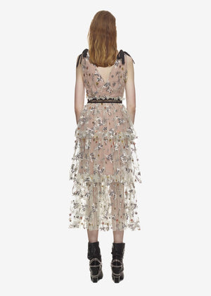 Women Designer dresses runway 2018 high quality Sexy V neck Floral Embroidery Mesh Sequins Long Dress tunic Cake Beach Dress