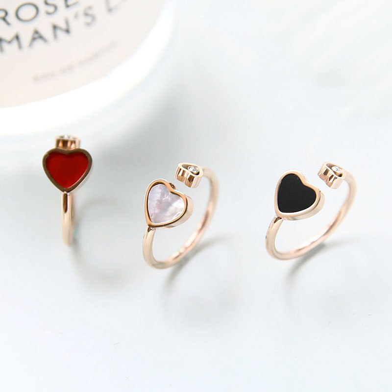 YUN RUO 2018 Adjust Heart Crystal Rings Rose Gold Color Lady's Wedding Ring Birthday Gift Woman Fashion Titanium Steel Jewelry