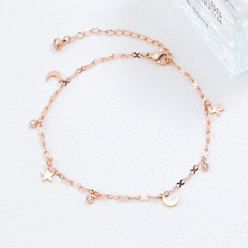 YUN RUO 2017 Fashion Rose Gold Anklet Elegant Star and Moon Chain for Woman Girl Gift 316 L Stainless Steel Jewelry Top Quality
