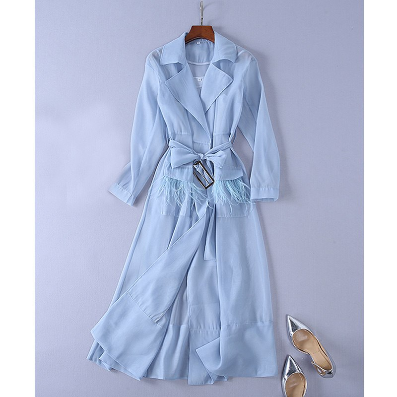 women summer outfits 2018 solid color white / blue sheer organza women long shirt dress ostrich feather pockets loose long dress