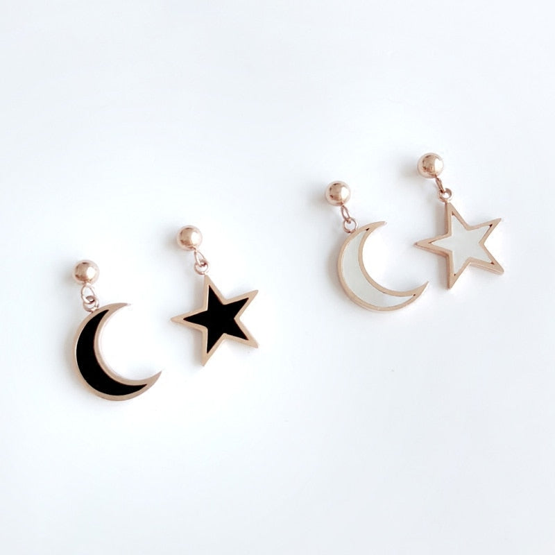 YUN RUO 2018 New Arrival Fashion Star Moon Shell Stud Earring Rose Gold Color Woman Gift Titanium Steel Fine Jewelry Never Fade