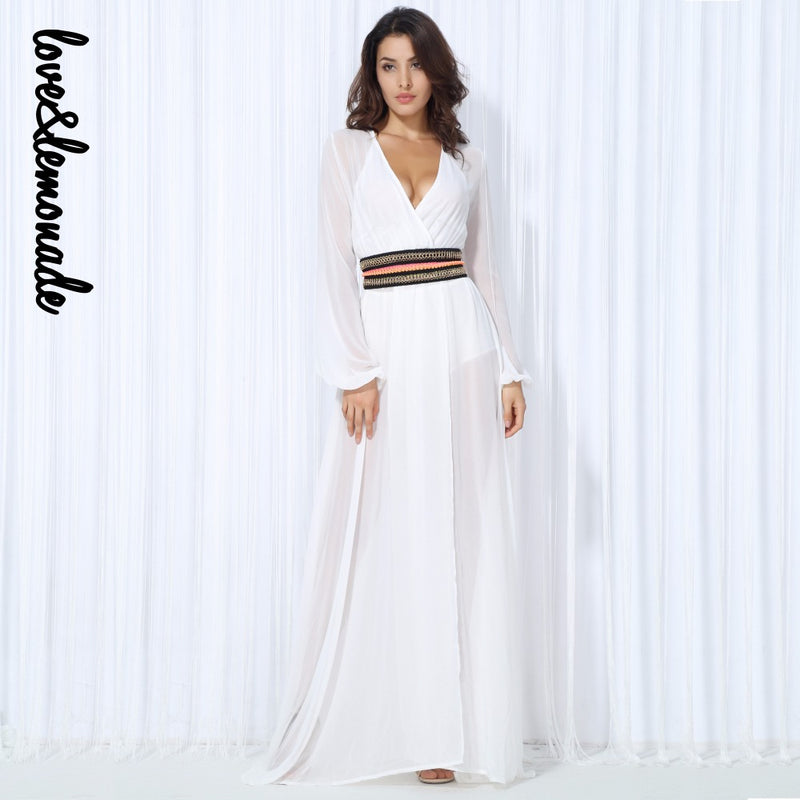 Love&Lemonade White V-Neck Bohemian Belt Chiffon Long Sleeve Long Dress LM0025