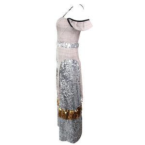 TWOTWINSTYLE Sequins Dresses For Women Suspender V Neck Sleeveless High Waist Patchwork Plaid Long Dress Vestido Elegant Clothes