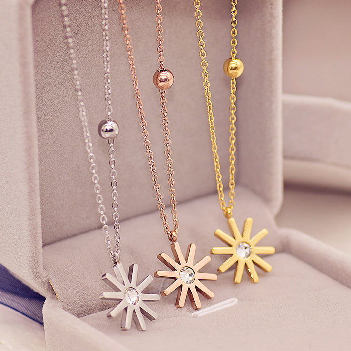 YUN RUO Fashion Brand Yellow Rose Silver Color Classic Sunflower Pendant Necklace Woman 316L Stainless Steel Jewelry High Polish