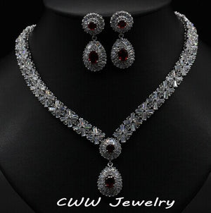 African CZ Beads Big Red Green Blue Cubic Zirconia Luxury Women Jewelry Sets For Evening Party